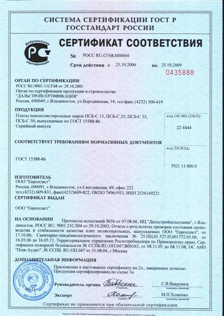 Сертификат на пенополистирол гост 15588-86 получение жилищного сертификата воркута